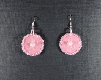 Pink circle earrings made from computer keyboard silicone insides - accidental boobs