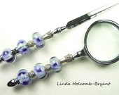 Letter Opener & Magnifying Glass with Handmade Lampwork Glass Beads of Blue