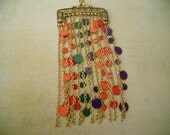Purse Necklace - Hanging Chain and Colorful Discs for Stylized Purse - A Must for High Fashion Purse Lovers