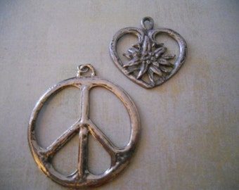 Peace Sign and Heart and Flower Pendants - Set of 2 Groovy Cool Pewter Pendants - Free Shipping with Another Item