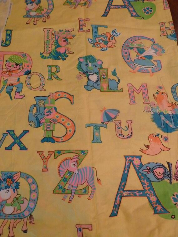 60 39 s sweet vintage mod nursery fabric alphabet pastel for Retro nursery fabric
