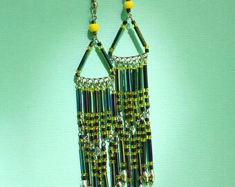 Triangle Dangle Earrings - Festival Hippie Free Spirit Bohemian Earrings - Beads Beaded