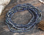 Dark Blue Djenne Beads from Mali, Africa, Roman Glass Beads, Beautiful Antique Strand, Tribal, 4x3mm, Rare Nautical Beads for Making Jewelry