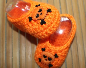 Baby Shoes - Neon Orange - Crochet Baby Booties - Baby Girl Booties - Skull and Crossbones - Photo Prop