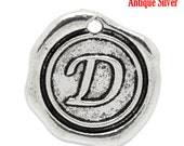 "1pc Initial ""D"" Antique Silver Charm. Personalized Small Pendant. Metal letter. 18mm Round Disc. Necklace Bracelet Component."