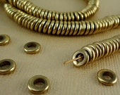 40 Solid Brass Beads Disk 6mm Heishi Flat Round rondelles disc Spacer Big Large Hole 3mm Loose Metal Brass washer Natural beads