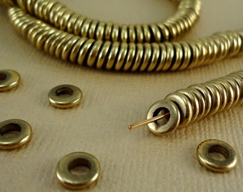 40 Solid Brass Beads Heishi Disk 6mm Flat Round Rondelle Beads disc Spacer Big Large Hole 3mm Loose Metal Brass washer Natural beads