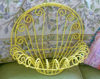 Metal Tole  yellow hanging basket for bath or kitchen