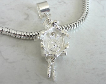 German CUCKOO CLOCK with MOVING Weights Sterling Silver Charm Fits All Slide On Bracelets