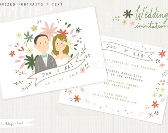 Printable Custom Portraits Wedding Invitation- Whimsical wedding card
