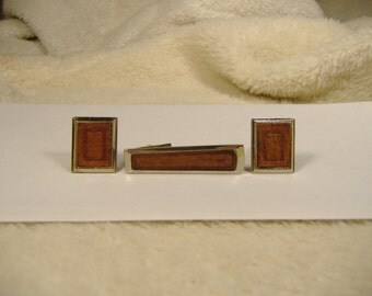 Vintage 1960s Leather Tie Clip and Cuff Link Set