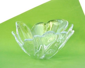 Vintage Art Glass Bowl Retro Modern Decor Serving Dish Free Form Clear Crystal Sculpture