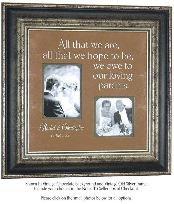 PARENTS Wedding Picture Frame Mother Father By PhotoFrameOriginals