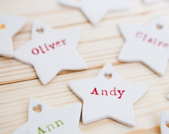 Personalized Christmas Decorations Set of 4 Ceramic Stars