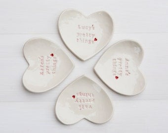 Personalized Bridesmaid Gift Ring Dish custom porcelain heart wedding ring bearer bowl