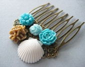 NEW-Flower Filigree Hair Comb In Turquoise,Latte And White Shell,Flower Hair Accessories,Floral Hair Accessories,Hair Accessories