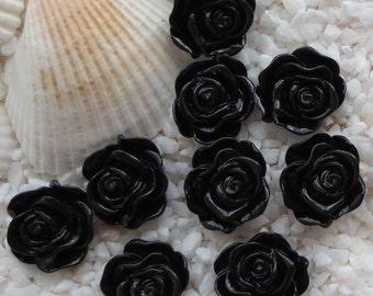 Resin Rose Flower Cabochon - 12mm - 30 pcs - Black
