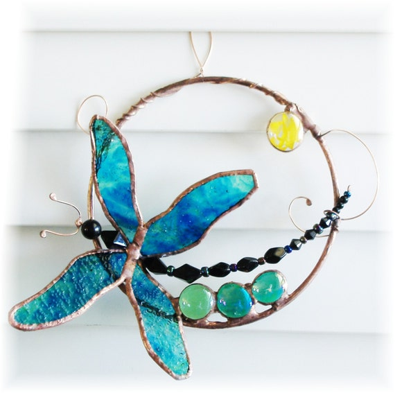 Sun Catcher Dragonfly Stained Glass Sculpture Iridescent Textured