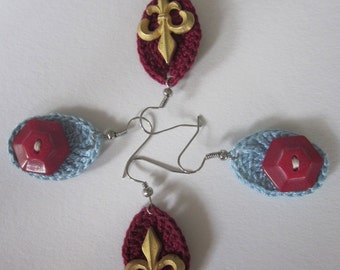 REDUCED Set of 2 Pairs Oval Easter Egg Earrings, Teardrop, Buttons, Red and Blue, Burgundy and Gold Fleur di Lis