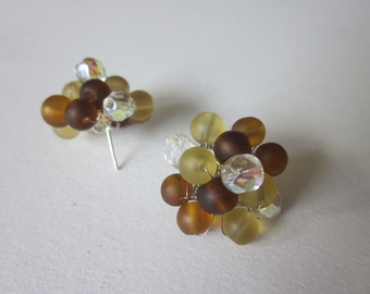 REDUCED Handmade 1950s style Bead Cluster Earrings, Brown, Amber, Earthtones
