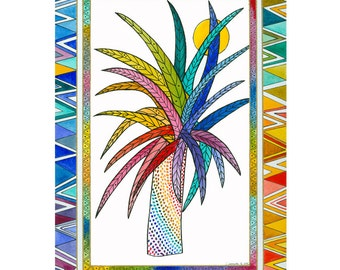 Watercolor Painting Original Art Illustration Ink Tropical Tree Stylised Contemporary Nature Multicolored
