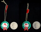 Sanrio Hello Kitty in Wreath and Baby Santa Ceramic Christmas Trinket/Ornament 2 Trinkets Vintage Sanrio 1976 -1991 JAPAN