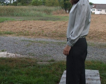 Pinstripe Dress Pants Black White Groovy