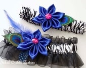 Royal Blue Wedding Garter Set, Peacock Garter, Prom 2015, Sapphire / Royal Prom Garter, Zebra Garters, Blue Bridal Kanzashi, Black & White