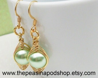 Peas in a pod, Peas in a Pod Earrings, One Pea In The Pod,  Gold Earrings, Brides, Bridesmaids,Family , Sisters,Best Friends, Mothers.
