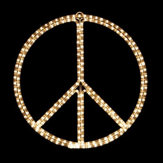 peace sign  symbol holiday lighting display wall by ohlighting