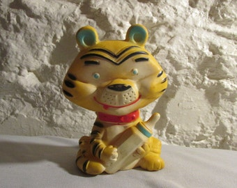 Vintage Alan Jay Clarolyte Baby Squeak Squeeze Toy Baby Tiger Yellow an Black 1960s era