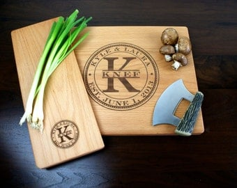Personalized Engraved Gift Set - One Cutting Board and One Cheese plate -Christmas gift, Wedding Gift, Anniversary gift