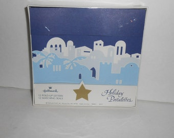 Vintage postalettes Hallmark holiday postalettes new old stock 12 cards and 12 seals cobalt NIB Christmas postalettes Easter post cards