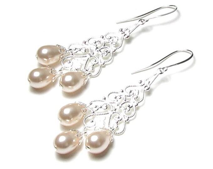 Ivory Swarovski Pearl Teardrop Silver Chandelier Wedding Earrings, Pearl Bridal Jewelry, Chandelier Earrings, Silver Filigree, Cream Drops