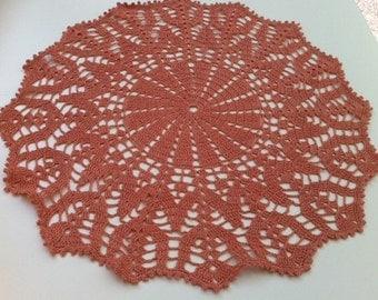 Dark peach hand crochet doily, applique