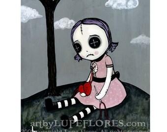 LOVE/HATE rag doll broken heart 8x10 Original High Quality Art Print