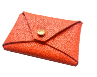 Leather Card Case - Coral Stingray OR Solid Cobalt Leather- Envelope Style
