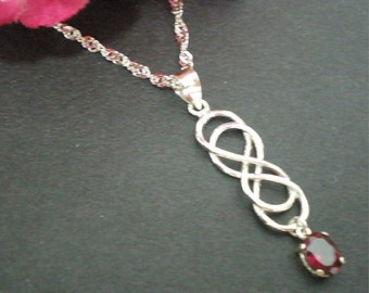 Silver Double Infinity Necklace - Sterling Silver Red Oval Cz Gemstone - Valentines Day, Spring Wedding, Mother Day Gift