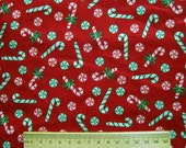 Vintage Christmas Fabric - 1980s Candy canes Cranston VIP screen print dark red & green - 2 yds
