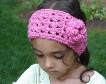 Rose Boho Style Crochet Headwrap with a Flower / Headband / Earwarmer Sizes Adult, Teen