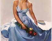 "Handprinted Cotton Art Reprodn Applique Vintage Sexy Pin-up Girl Gil Elvgren  ""True to You"" (Sitting Pretty) 1950"