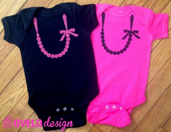 The Carrie Pearl Sparkle Glitter Necklace for TWINS with Bow on Black Bodysuit with Pink Necklace