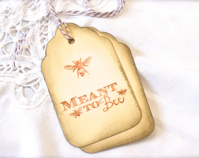 Meant To Bee, Sepia Gift Tags, Honey Bee, Wine Charms, Wedding Favor Tags, Vintage Look, Aged, Wish Tree Cards, Bridal Shower Tags, 6 Tags