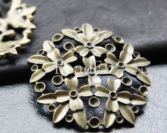 6pcs / Flower / Antique Brass Tone / Base Metal / Pendant (ZB13332//K114)