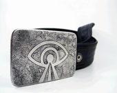 Laser Eye Belt Buckle - Etched Stainless Steel - Handmade
