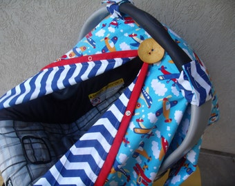 Carseat Canopy Airplane Chevron Boy carseat cover FREESHIPPING REVERSIBLE
