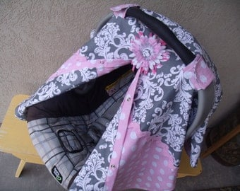 Carseat Canopy Carseat Cover Chevron Girl Choose from 8 color Polka Dots