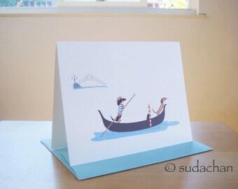 Dachshunds on Gondola - Note Cards (set of 10)