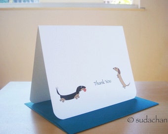 Dachshund Thank You  Note Cards - Dachshunds With Ball (Set of 10)