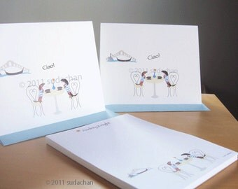 Dachshund Note Cards, Personalized Notepad Set - Dachshunds in Venice Cafe (10 cards, 1 notepad)